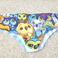 Owls Bikini Bottom Low-Rise Panties