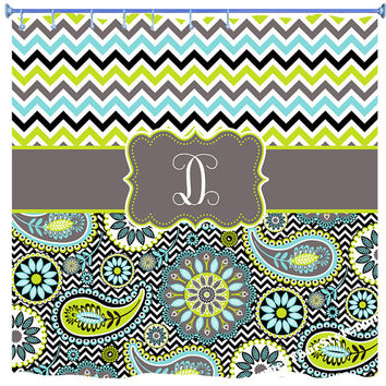 Chevron and Paisley Monogrammed Shower Curtain - Personalized  Chevron Shower Curtain - Paisley Curtain - Aqua and Lime Sibling Curtain