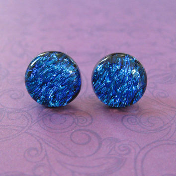 Dichroic Blue Earrings | Hypoallergenic Stud Earrings | Earring Jewelry | Dichroic Blue Jewelry, Fused Glass Jewelry - Wilder - 2361 -4