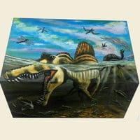 Wooden Box Painted Dinosaurs and Snake inside Jewelry box organizer storage Gift box Makeup Keepsake box Art kid Unique gift Custom order