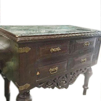 Indian Antique Sideboard Bow Fronted Chest of Drawers Indian Furniture
