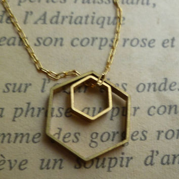 Hexagon necklace brass geometric shapes by littlepancakes on Etsy