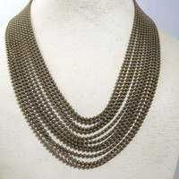 Chainmaille Art Deco Necklace, Eleven Multi Strand Brass Ball Bead Chains, 1930s Statement Necklace, BoHo Chic Jewelry