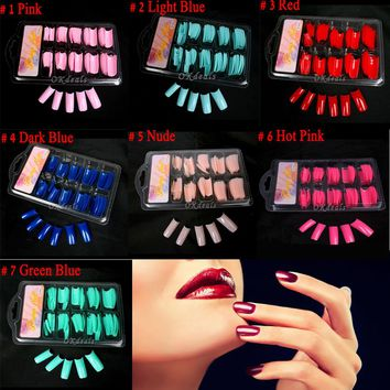 100 Pcs/Set Pro Women Fake Acrylic Gel French Nail Art Half Tips Salon Colorful False Nail Tips Makeup Tools