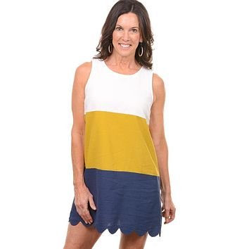 Color Block Scalloped Shift Dress