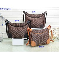 LV popular casual lady shopping bag fashion printed patchwork color shoulder bag Coffee