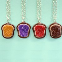 Handmade Realistic 4-Way Peanut Butter, Grape Jelly, Strawberry Jelly and Nutella Best Friend Necklaces