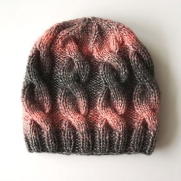 Pink Gray Hat made of wool and acrylic, hand knit in Italy, soft and comfortable, cables hat