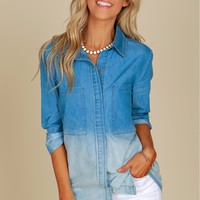 Ombre Pocket Denim Top Denim