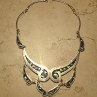 Vintage Alpaca Silver Necklace Scalloped Black Abalone Inlay Mexican Jewelry