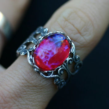 Fire Opal Ring - Mexican Dragon Breath - Adjustable