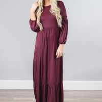 Long Sleeve Crochet Detail Maxi Dress