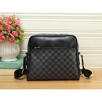 LV Trending Women Stylish Monogram Leather Zipper Shoulder Bag Crossbody Satchel Black Tartan I-RF-PJ