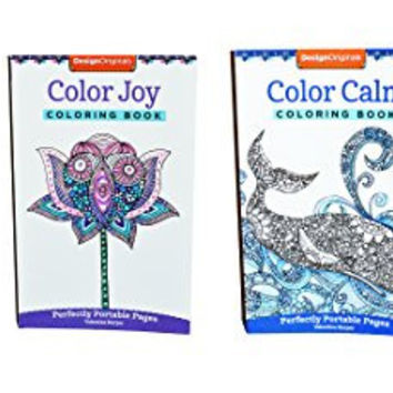 Mini Adult Coloring Books Set of 3 with Colored Pencils