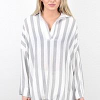 Collared Hi-Lo Striped V-neck Tunic {Black} EXTENDED SIZES