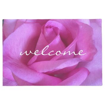 """Welcome"" purple pink rose close-up photo doormat"
