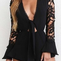 Point Of View Black Long Crochet Sleeve Plunge V Neck Tie Front Cut Out Waist Romper Playsuit