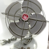 Mid Century GE Oscillating Fan, Vintage Cabin Farmhouse Industrial Decor, Gray and Red, Adjustable Fan