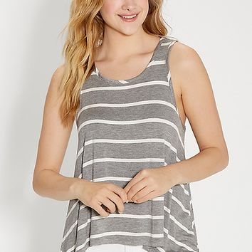 the 24/7 heathered striped tank with shark bite hem | maurices