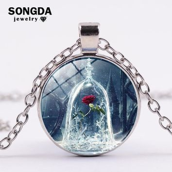 SONGDA Fairy Tale Beauty and the Beast Rose True Love Necklace Cursed Rose Art Photo Glass Gem Pendant Necklace Party Jewelry