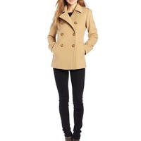 Larry Levine Women's Double-Breasted Soft Peacoat