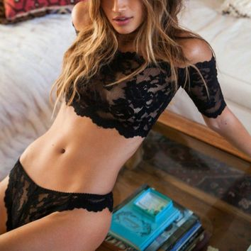 US Women Sexy Lingerie Set Lace Crop Top G-string Panty Underwear Sleepwear Suit