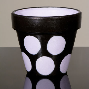 "Hand Painted Flower Pot- 6 Inch Terracotta Pot ""Polka Dots"" ,Birthday,Housewarming Wedding, Christening Gift- Made to Order"