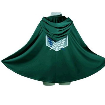 Cool Attack on Titan 10pcs/lot  Costume Green Cloak Japanese Anime Cosplay No Hoodie Eren Levi Mikasa Scout Legion Coat AT_90_11