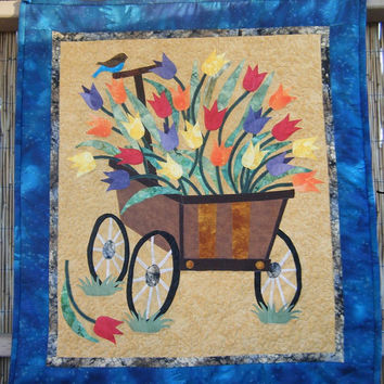 Tulips in Wagon Quilted Wall Hanging - HANDMADE BY ME