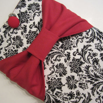 """Macbook Pro 13 Sleeve MAC Macbook 13"""" inch Laptop Computer Case Cover Black & White Floral with Red Bow"""