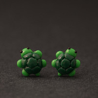 Turtle Earrings, Animal Studs, Sea Creatures, Polymer Clay Animals