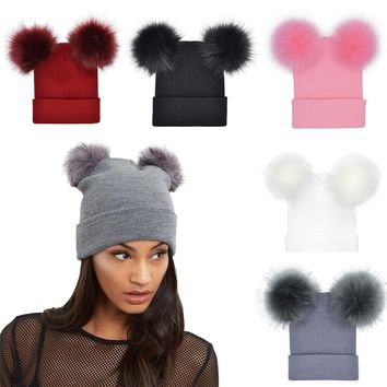 2018 New Arrival New Fashion Women Winter Warm Crochet Knit Double Faux Fur Pom Pom Beanie Hat Cap High Quality Hot Sale Top#30