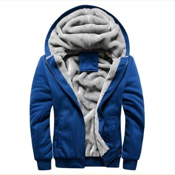 Thick Wool windbreaker Men's Warm Winter Coats Hoodies Sweatshirts Cotton Polo Bomber