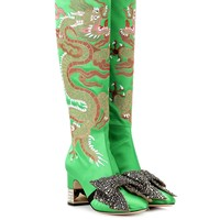 Dragon embellished satin boots