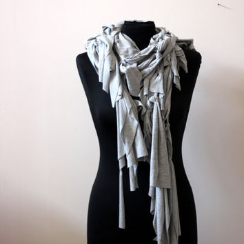 Light Grey Over sized scarf. RUFFLE Scarf. grey jersey scarf.ECO friendly scarf .unisex scarf.