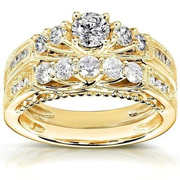 2pcs/lot Crystal Zircon Gold Rings Sets