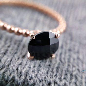 Rose Gold Engagement Ring, Rose Gold Ring, Black Spinel Engagement Ring, Black Spinel Ring, Promise Ring, 14kt Rose Gold, Crafted to Order