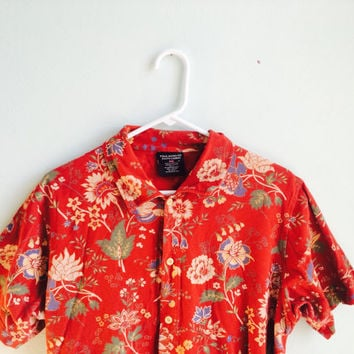 polo ralph lauren hawaiian floral button up polo shirt / medium