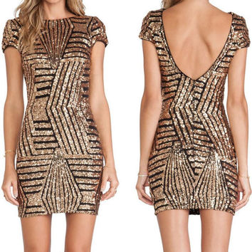 Backless Striped Sequined Halter Dress