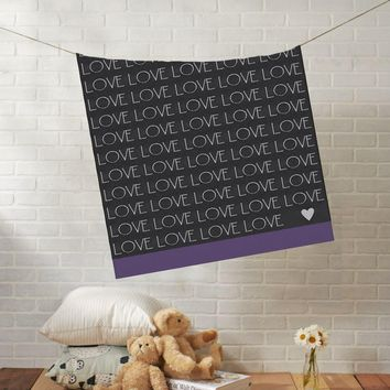 Knit Baby Blanket | Baby LOVE Heart Stroller Blanket | Boy or Girl | 100% Cashwool