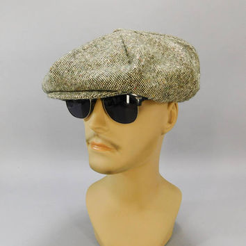Vintage Newsboy Cap / Gatsby Cap / 8-Panel Hat / Cabbie Cap / Cabby Hat / Gray Wool Tweed / Made in Ireland / Hanna Hats Donegal / Golf Hat