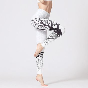 High Waist Quick Dry Workout Yoga Pants, White - AS201