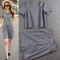 Plaid Puff Sleeves Cropped Top  Hight Waist Short Pants
