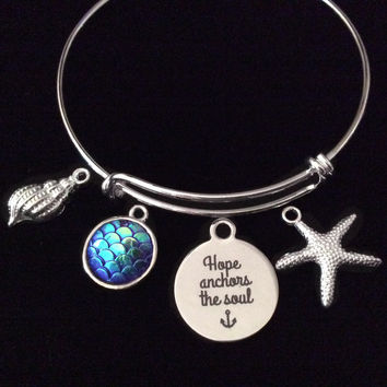Mermaid Hope Anchors the Soul Starfish Expandable Charm Bracelet Silver Adjustable Bangle Nautical Trendy Inspirational