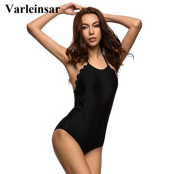 Bather S - 4XL black plus size swimwear large size women one piece swimsuit scalloped halter bathing suit swim female V296