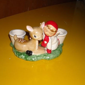 Holt Howard Vintage Baby Deer Fawn Little Girl Angel Candleholder Candle Holder 1959
