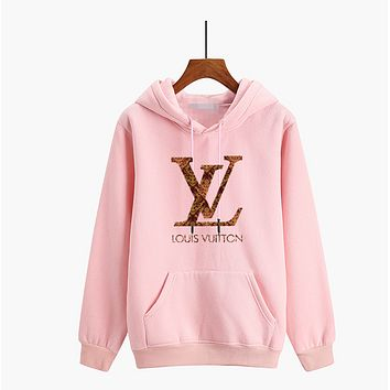 """Louis Vutitton"" Unisex Multicolor Logo Letter Print Thickened Long Sleeve Hooded Sweater Couple Hoodie Sweatshirt"