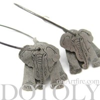 Dotoly | 3D Elephant Animal Hoop Dangle Earrings in Silver | Online Store Powered by Storenvy
