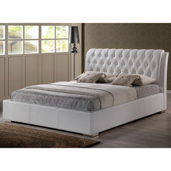 Baxton Studio Bianca Modern and Contemporary Faux Leather Upholstered Full-sized Platform Bed with Tufted Headboard | Overstock.com Shopping - The Best Deals on Beds