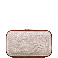Floral Brocade Embroidered Square Bag In Snow White by Katrin Langer - Moda Operandi